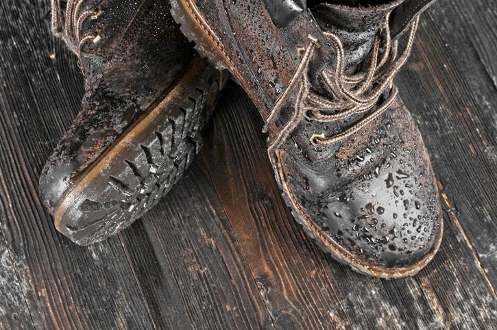 wet suede boots