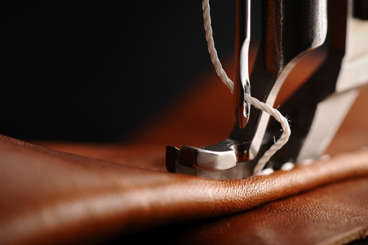 leather on sewing machine