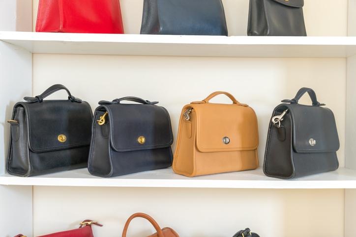 purses stored properly on shelf