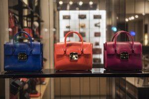 handbags in designer store