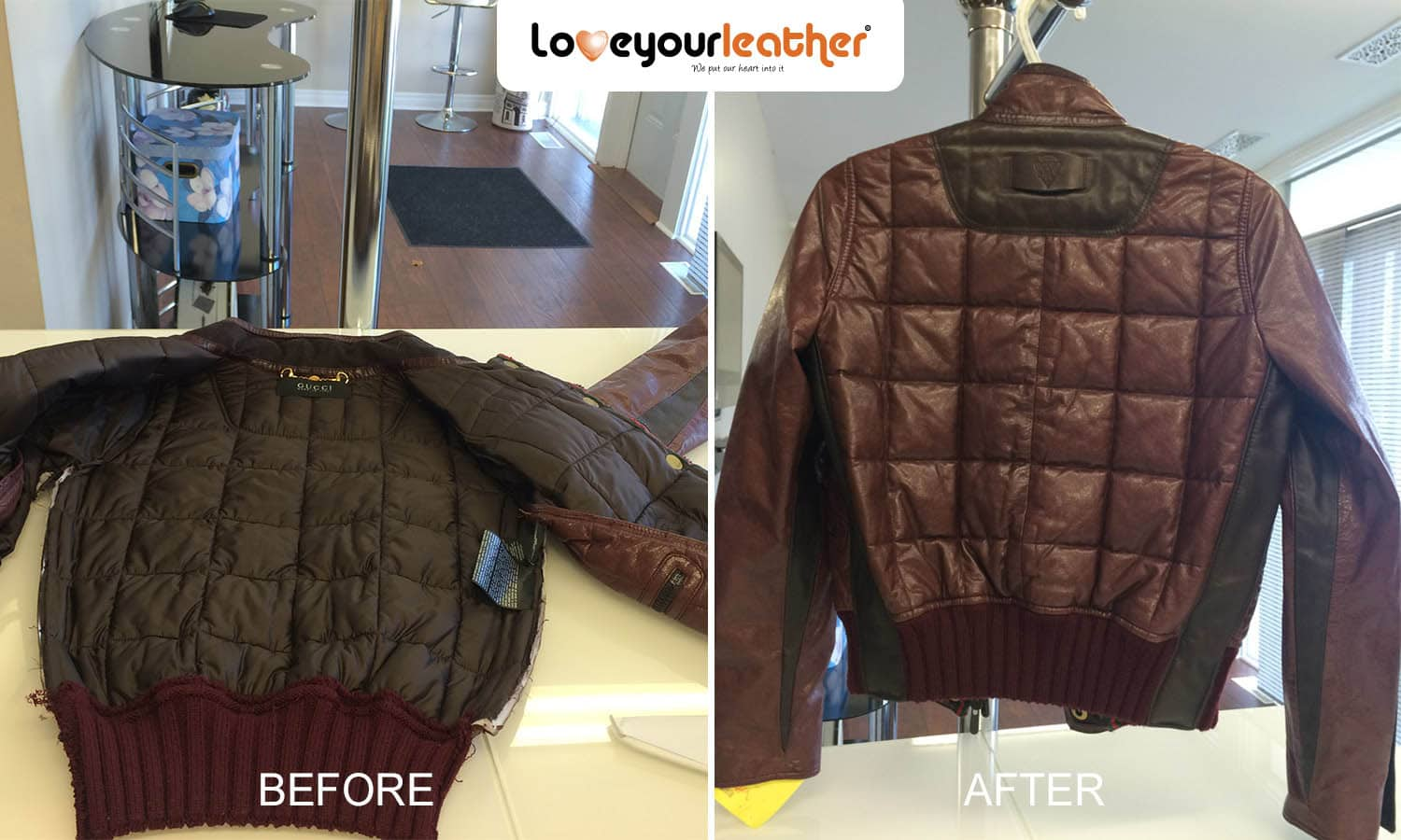 Leather jacket repair vancouver - Leather Gucci Jacket Cleaning Before And After