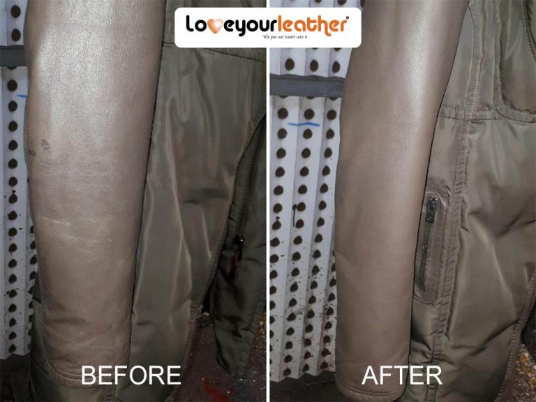 Leather coat cleaning before after