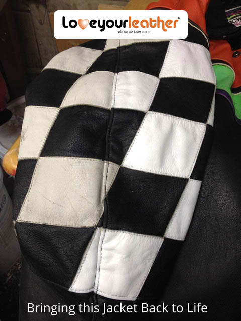 Checkered Leather Jacket Cleaning in Process