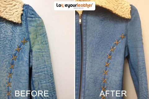 Blue jacket cleaning before after